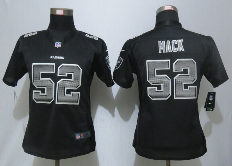 Nike Raiders 52 Khalil Mack Black Pro Line Fashion Strobe Women Jersey