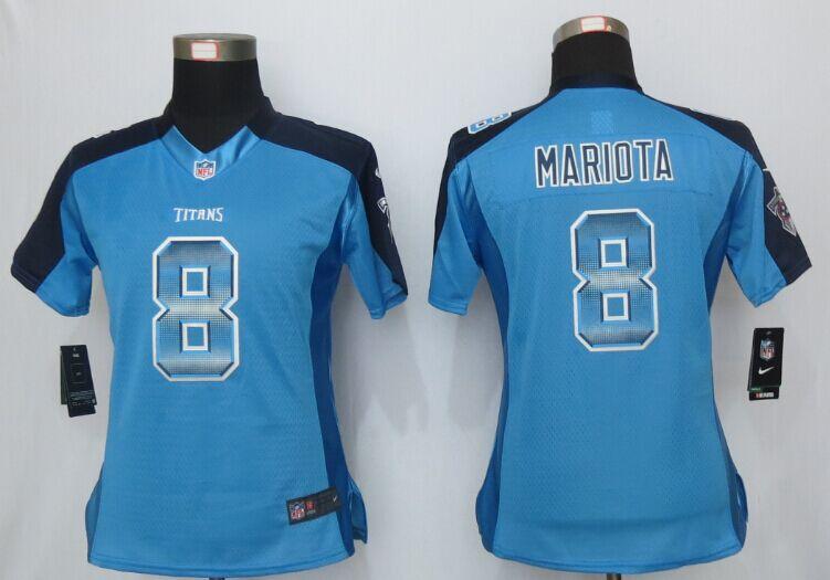 Nike Titans 8 Marcus Mariota Blue Pro Line Fashion Strobe Women Jersey