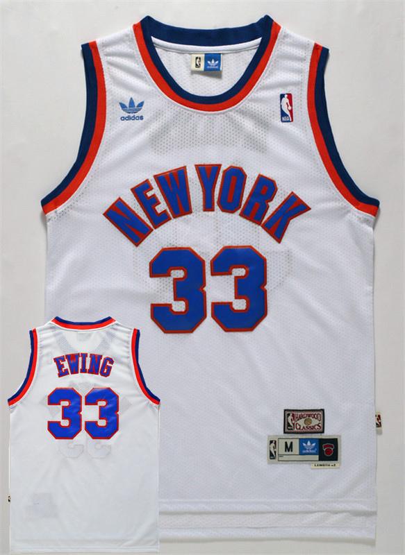 Knicks 33 Patrick Ewing White Hardwood Classics Jersey