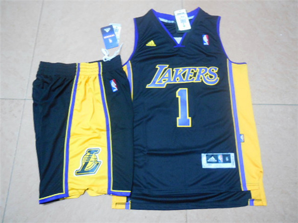 Lakers 1 D'Angelo Russell Black New Revolution 30 Swingman Jersey(With Shorts)