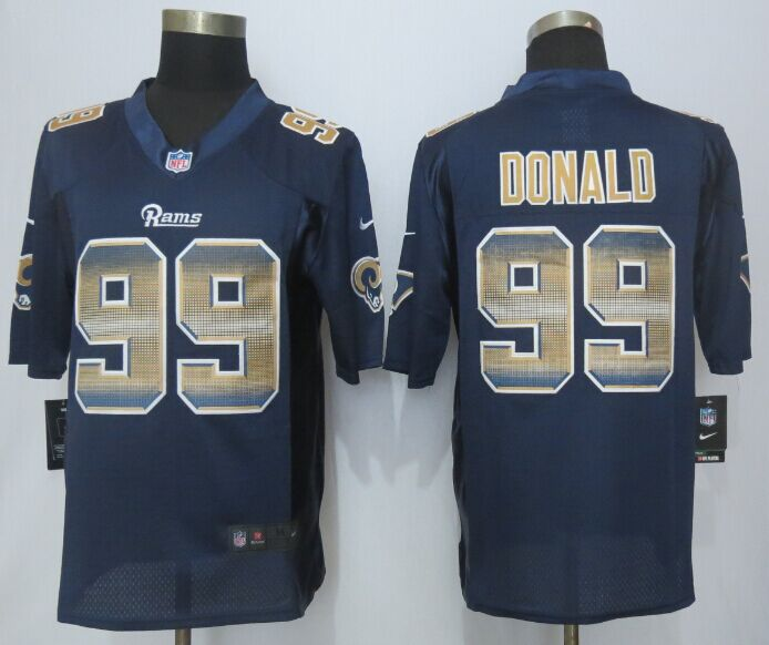 Nike Rams 99 Aaron Donald Navy Blue Pro Line Fashion Strobe Jersey