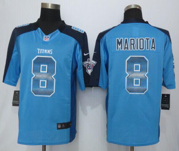 Nike Titans 8 Marcus Mariota Blue Pro Line Fashion Strobe Jersey