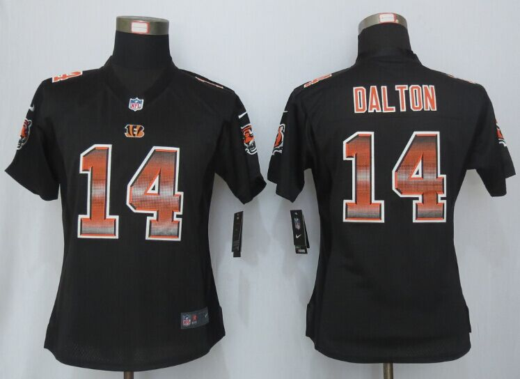 Nike Bengals 14 Andy Dalton Black Pro Line Fashion Strobe Women Jersey