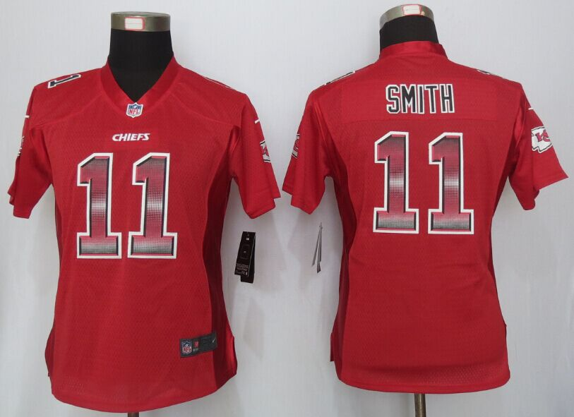 Nike Chiefs 11 Alex Smith Red Pro Line Fashion Strobe Women Jersey