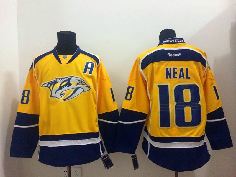 Predators 18 Neal Yellow Jerseys