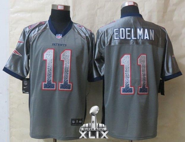 Nike Patriots 11 Edelman Grey Drift Fashion Elite 2015 Super Bowl XLIX Jerseys