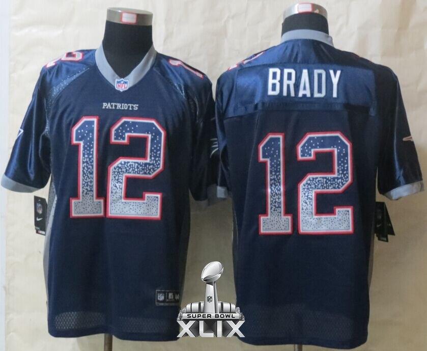 Nike Patriots 12 Brady Blue Drift Fashion Elite 2015 Super Bowl XLIX Jerseys