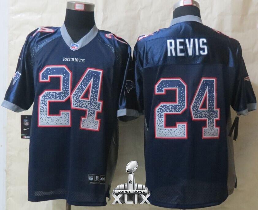 Nike Patriots 24 Revis Blue Drift Fashion Elite 2015 Super Bowl XLIX Jerseys