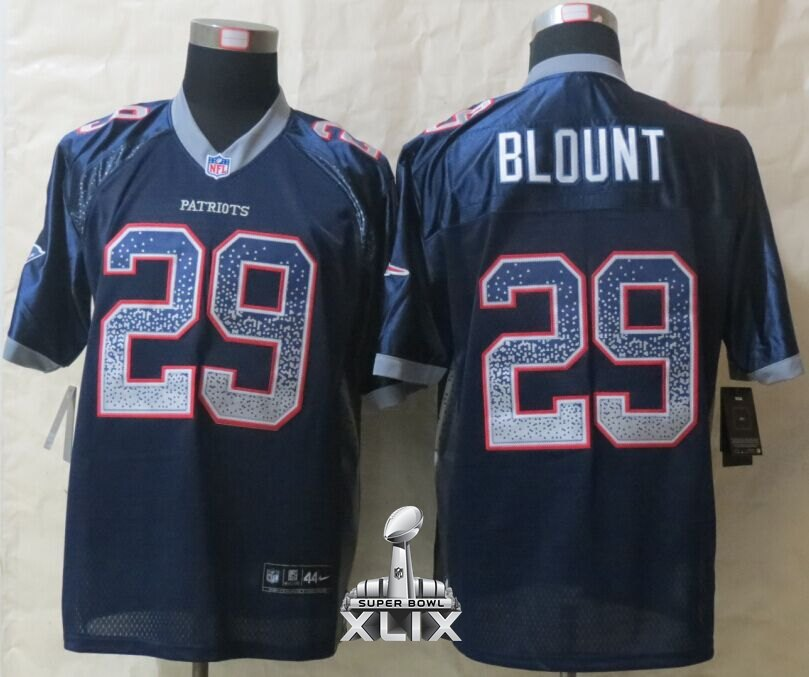 Nike Patriots 29 Blount Blue Drift Fashion Elite 2015 Super Bowl XLIX Jerseys