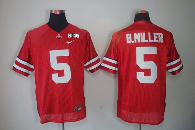 Ohio State 5 B Miller Red NCAA 2015 Playoff Championship Jerseys