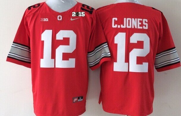 Ohio State Buckeyes 12 C.Jones Red NCAA 2015 Playoff Championship Jerseys