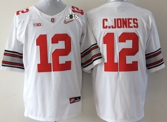 Ohio State Buckeyes 12 C.Jones White NCAA 2015 Playoff Championship Jerseys
