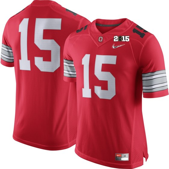 Ohio State Buckeyes 15 With Diamond Logo Red NCAA 2015 Playoff Championship Jerseys