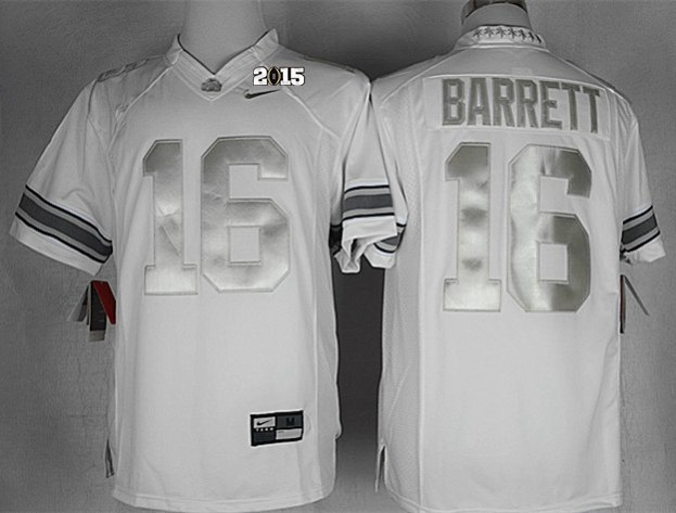 Ohio State Buckeyes 16 Barrett White Platinum NCAA 2015 Playoff Championship Jerseys