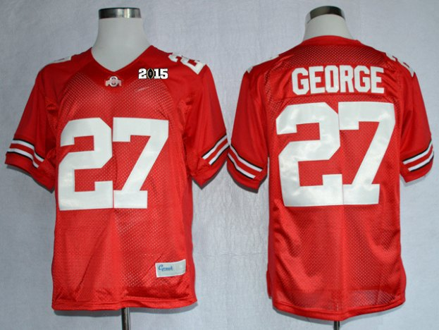 Ohio State Buckeyes 27 George Red NCAA 2015 Playoff Championship Jerseys