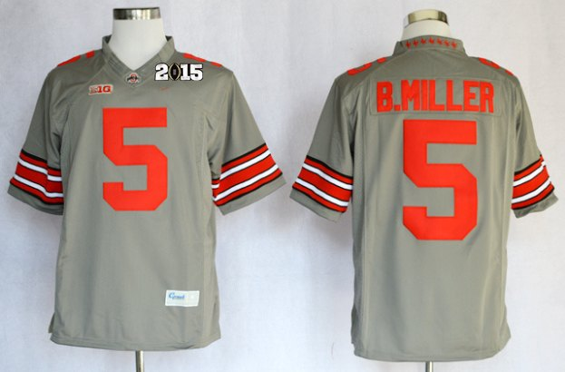 Ohio State Buckeyes 5 B.Miller Grey Limited NCAA 2015 Playoff Championship Jerseys