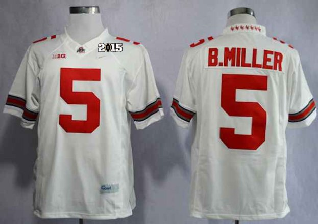 Ohio State Buckeyes Braxton Miller 5 College White Limited NCAA 2015 Playoff Championship Jerseys