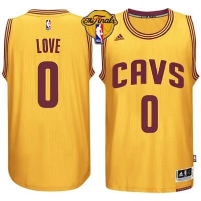Cavaliers 0 Love Yellow 2015 NBA Finals New Rev 30 Jersey