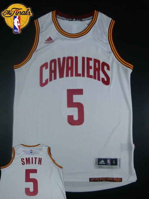 Cavaliers 5 J.R.Smith White 2015 NBA Finals New Rev 30 Jersey