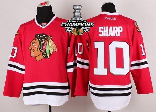 Blackhawks 10 Sharp Red 2015 Stanley Cup Champions Jersey