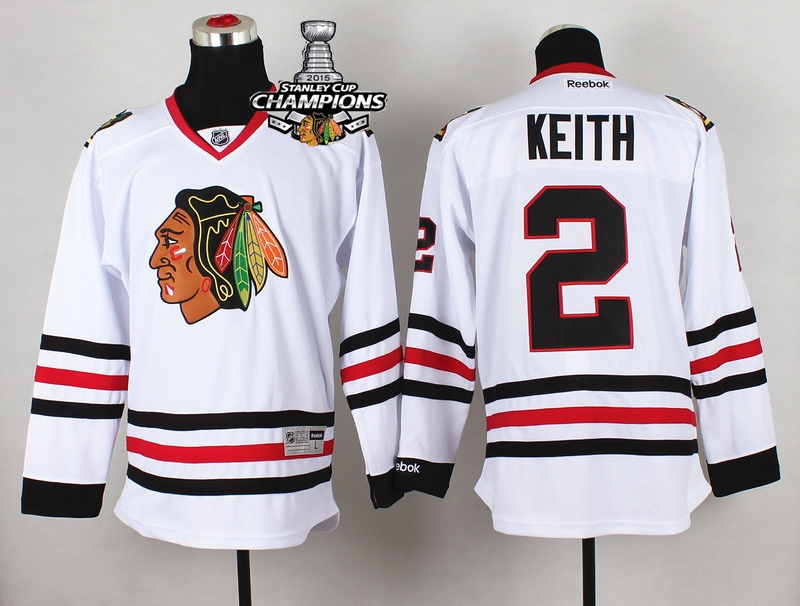 Blackhawks 2 Keith White 2015 Stanley Cup Champions Jersey
