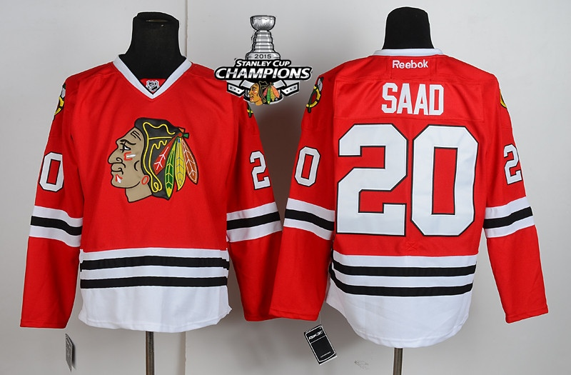 Blackhawks 20 Saad Red 2015 Stanley Cup Champions Jersey