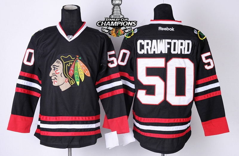Blackhawks 50 Crawford Black 2015 Stanley Cup Champions Jersey