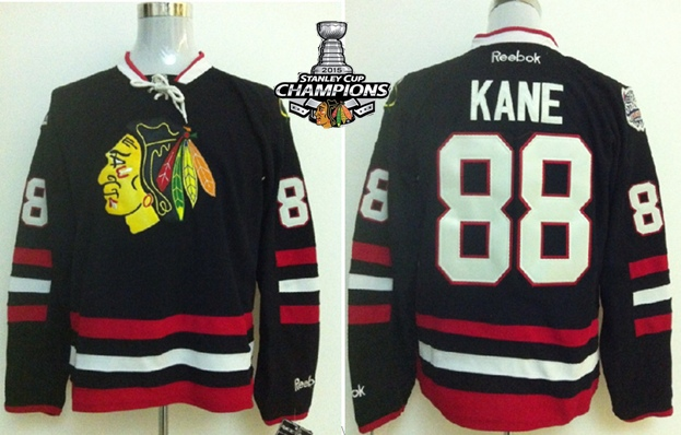 Blackhawks 88 Kane Black 2015 Stanley Cup Champions Jersey