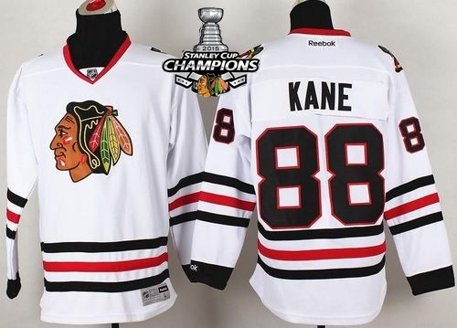Blackhawks 88 Kane White 2015 Stanley Cup Champions Jersey