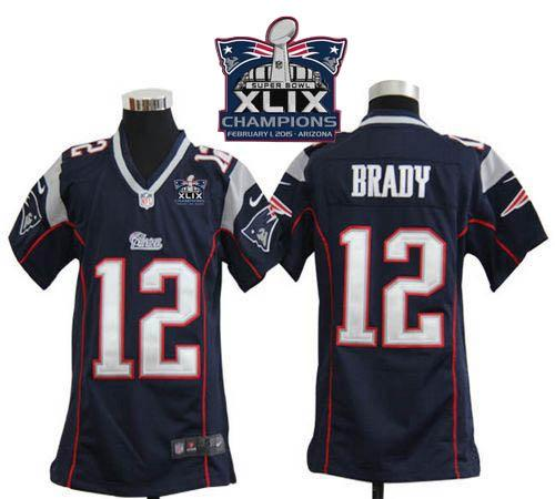 Nike Patriots 12 Brady Blue 2015 Super Bowl XLIX Champions Youth Game Jerseys