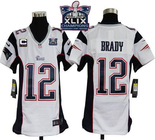 Nike Patriots 12 Brady White With C Patch 2015 Super Bowl XLIX Champions Youth Game Jerseys