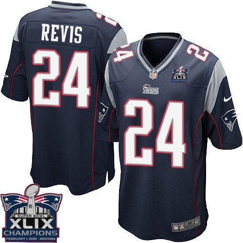Nike Patriots 24 Revis Blue 2015 Super Bowl XLIX Champions Youth Game Jerseys