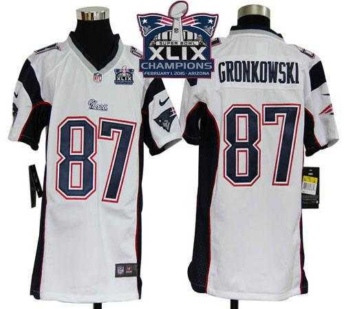 Nike Patriots 87 Gronkowski White 2015 Super Bowl XLIX Champions Youth Game Jerseys