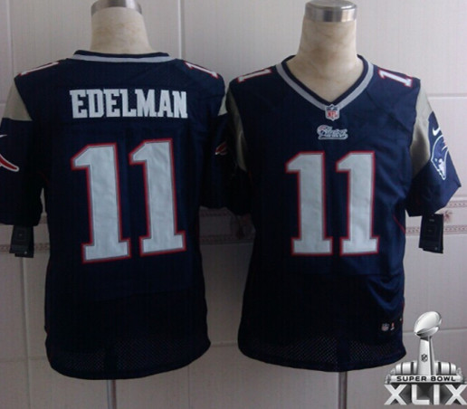 Nike Patriots 11 Edelman Blue Elite 2015 Super Bowl XLIX Jerseys