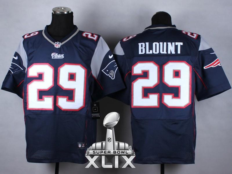Nike Patriots 29 Blount Blue Elite 2015 Super Bowl XLIX Jerseys