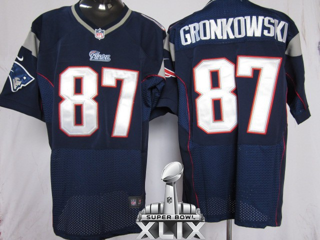 Nike Patriots 87 Gronkowski Blue Elite 2015 Super Bowl XLIX Jerseys