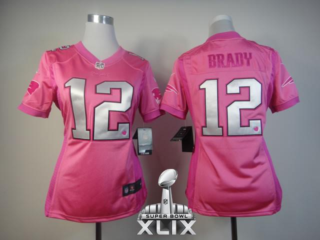 Nike Patriots 12 Brady Pink Love Women 2015 Super Bowl XLIX Jerseys
