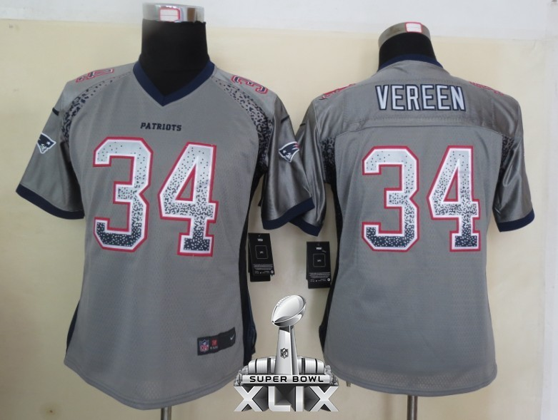 Nike Patriots 34 Vereen Grey Women Game Drift 2015 Super Bowl XLIX Jerseys