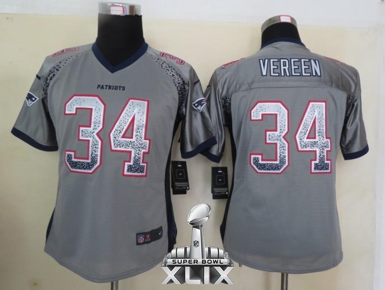 Nike Patriots 34 Vereen Grey Women Game Drift 2015 Super Bowl XLIX Jerseys