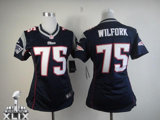 Nike Patriots 75 Wilfork Blue Women Game 2015 Super Bowl XLIX Jerseys