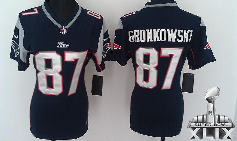 Nike Patriots 87 Gronkowski Blue Women Game 2015 Super Bowl XLIX Jerseys