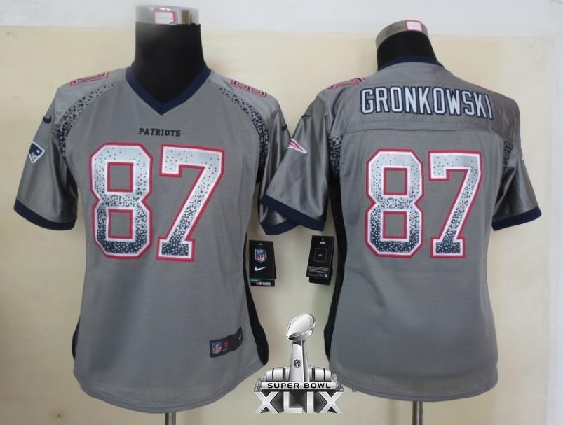 Nike Patriots 87 Gronkowski Grey Women Game Drift 2015 Super Bowl XLIX Jerseys