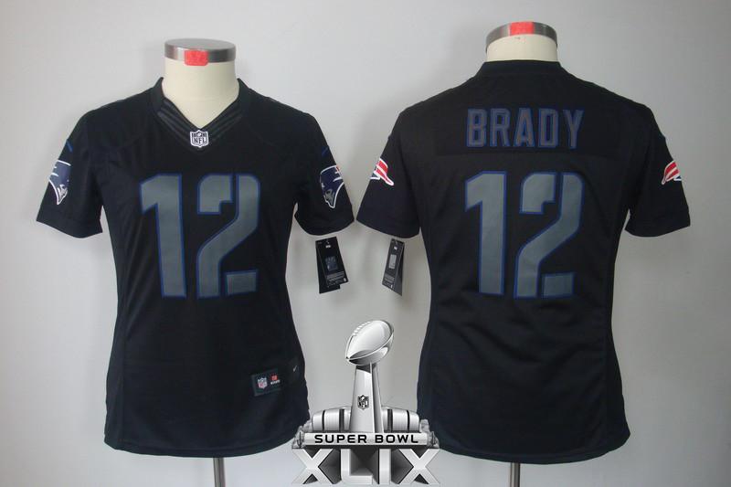 Nike Patriots 12 Brady Black Impact Women Limited 2015 Super Bowl XLIX Jerseys