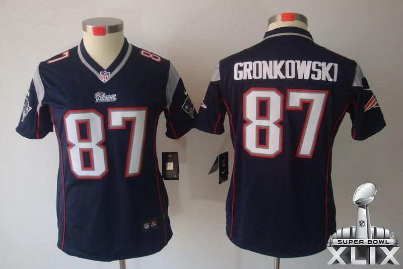 Nike Patriots 87 Gronkowski Blue Women Limited 2015 Super Bowl XLIX Jerseys