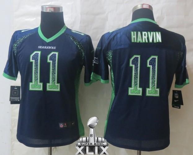Nike Seahawks 11 Harvin Blue Women Elite Drift 2015 Super Bowl XLIX Jerseys