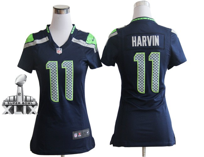 Nike Seahawks 11 Harvin Blue Women Game 2015 Super Bowl XLIX Jerseys