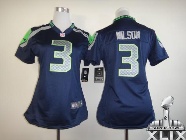 Nike Seahawks 3 Wilson Blue Women Game 2015 Super Bowl XLIX Jerseys
