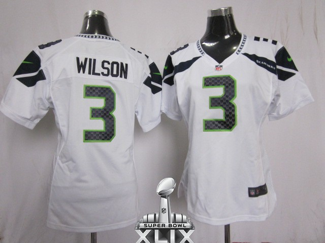 Nike Seahawks 3 Wilson White Women Game 2015 Super Bowl XLIX Jerseys