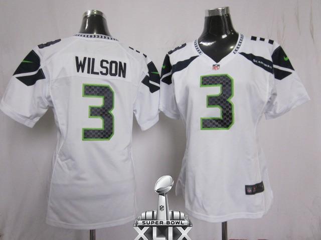 Nike Seahawks 3 Wilson White Women Game 2015 Super Bowl XLIX Jerseys