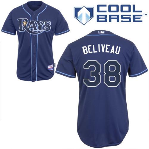 Rays 38 Beliveau Dark Blue Cool Base Jerseys